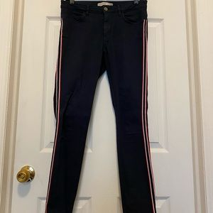Zara Red and White Striped Navy Jeans